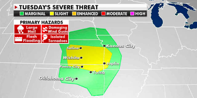 Potential severe weather is forecast for Tuesday. (Fox News)