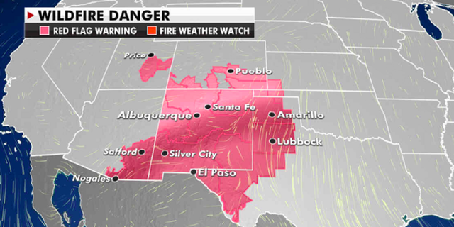 The current risk of wildfires. (Fox News)