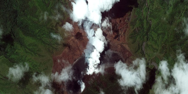LA SOUFRIERE VOLCANO, SAINT VINCENT -- APRIL 8, 2021: Maxar closeup satellite imagery of the the Caribbean island of St Vincent and the ongoing eruption of the La Soufriere volcano. Please use: Satellite image (c) 2021 Maxar Technologies.