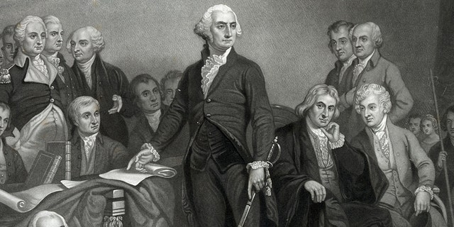 Washington delivers his inaugural address. Washington delivering his inaugural address in the old city hall, New York' George Washington delivering his inaugural address before members of the Congress. Includes text of speech. (Photo by: Universal History Archive/UIG via Getty images)