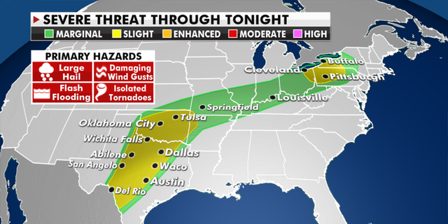 The current risk of severe weather Wednesday. (Fox News)