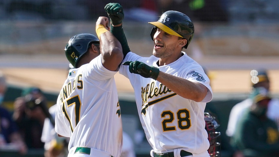 Olson, Moreland homers back Manaea six-hitter, A's win again