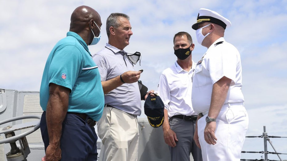 Jaguars' top brass visits US Navy's newest destroyer before the draft