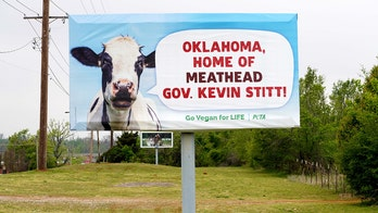 Oklahoma Gov. Stitt hosts barbecue beside PETA billboard slamming him for declaring 'meat week'