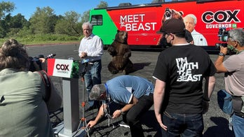 Newsom challenger teams up with bear at 'meet the beast' campaign tour launch