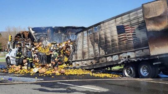 Hundreds of lemons spill onto Colorado interstate after truck catches fire