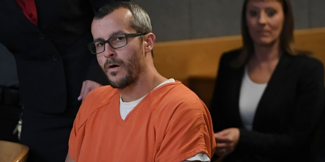 Christopher Watts sits in court for his sentencing hearing at the Weld County Courthouse on Nov. 19, 2018, in Greeley, Colorado. Watts was sentenced to life in prison for murdering his pregnant wife and their daughters. (Getty Images)