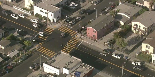 <strong>Aerial images above the scene show multiple police vehicles present at the San Francisco intersection where a double stabbing took place.</strong>