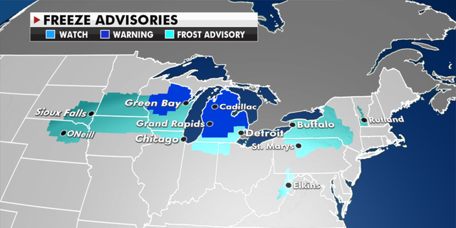 Freeze advisories currently in effect. (Fox News)