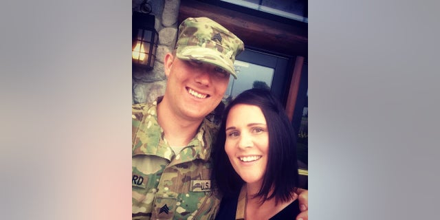 Sgt.Brandon Stafford (now Sergeant) poses for a picture with older sister Melissa Hjelle.