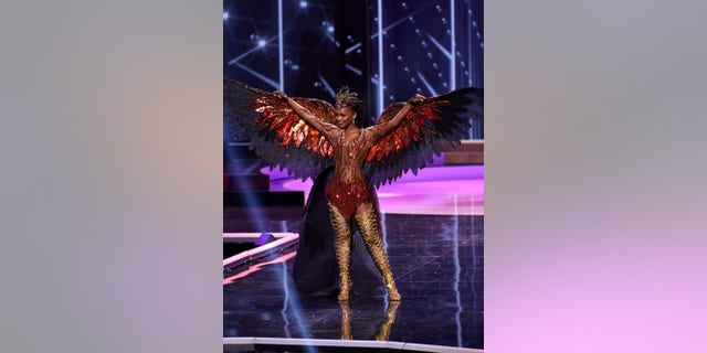 Miss USA Asya Branch appears onstage at the Miss Universe 2021 National Costume Show at Seminole Hard Rock Hotel & Casino on May 13, 2021, in Hollywood, Florida.
