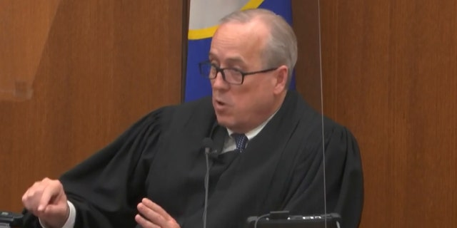 In this image from video, Hennepin County Judge Peter Cahill is dressing the court after the judge has placed the trial in the hands of the jury.  Monday, April 19, 2021 in the lawsuit against Chauvin on May 25, 2020, George Floyd's death at the Hennepin County Courthouse in Minneapolis, Minn.  (Court TV via AP, Pool)