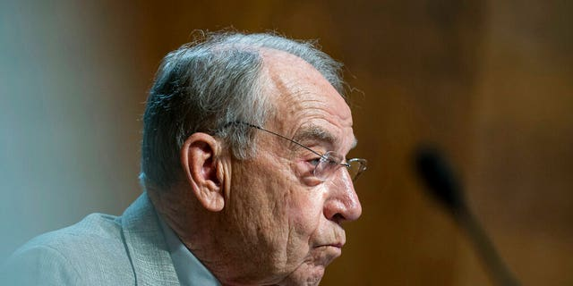 Sen. Chuck Grassley, R-Iowa, listens during a hearing of the Senate Judiciary Subcommittee on Privacy, Technology, and the Law, on Capitol Hill, Tuesday, April 27, 2021, in Washington. Grassley was adamant in an interview with Fox News that Democrats will have to raise the debt ceiling on their own via reconciliation. (Al Drago/Pool via AP)