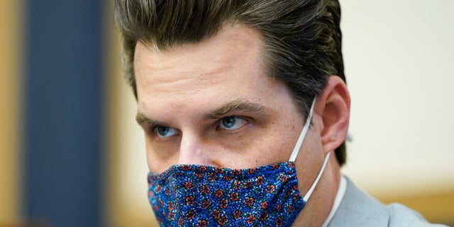 Rep. Matt Gaetz, R-Fla., attends a House Judiciary committee hearing at the Capitol in Washington, Wednesday, April 14, 2021. Reports say that prosecutors are looking into whether Gaetz obstructed justice in a sex trafficking probe. (AP Photo/J. Scott Applewhite, File)