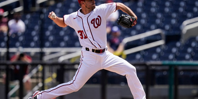 Washington Nationals starting pitcher Max Scherzer throws during the first inning of a baseball game against the Miami Marlins at Nationals Park, Sunday, May 2, 2021, in Washington. (AP Photo/Alex Brandon)