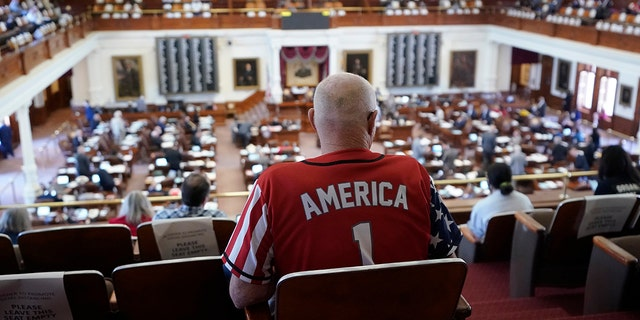 Gerald Welty sits the House Chamber at the Texas Capitol as he waits to hear debate on voter legislation in Austin, Texas, Thursday, May 6, 2021. (Associated Press)