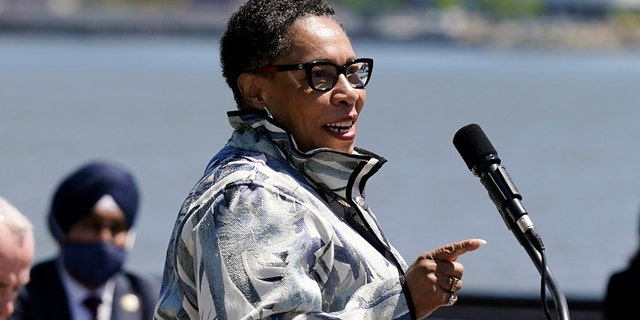 Housing and Urban Development Secretary Marcia Fudge speaks during a news conference in Hoboken, N.J., Thursday, May 6, 2021. (AP Photo/Seth Wenig)
