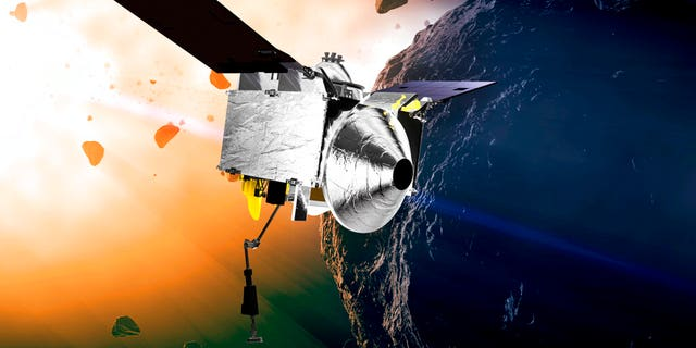 FILE: This illustration provided by NASA depicts the OSIRIS-REx spacecraft at the asteroid Bennu.