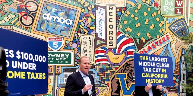 FILE: Kevin Faulconer, a Republican candidate for California governor, speaks during a news conference in Downey, Calif, where he announced his $  15 billion tax-cut proposal.