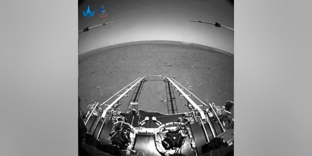 A photo taken by China's Zhurong Mars rover and made available by the China National Space Administration (CNSA) on Wednesday, May 19, 2021.