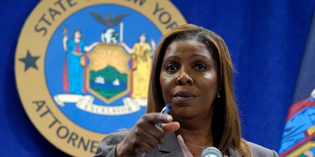 New York Attorney General Letitia James speaks at her New York office for a press conference on Friday, May 21, 2021.  (Associated Press)