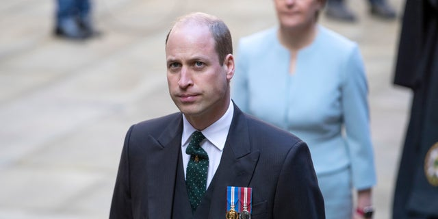 Britain's Prince William arrives for the opening ceremony of the General Assembly of the Church of Scotland. During his speech, the 38-year-old royal explained that he was at Balmoral Castle when he learned of his mother's death.(Jane Barlow/PA via AP)