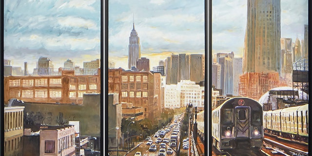 This picture provided and painted by Bob Dylan in 2020 is called 'New York Subways.' (Bob Dylan via AP)