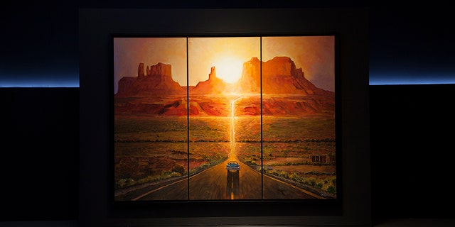 This picture provided and painted by Bob Dylan in 2019 called 'Sunset, Monumet, Valley.' The largest collection of Bob Dylan's artwork ever seen will go on display later this year in the U.S. 'Retrospectum' spans six decades of Dylan's art, featuring more than 120 of the artist's paintings, drawings and sculptures. (Bob Dylan via AP)