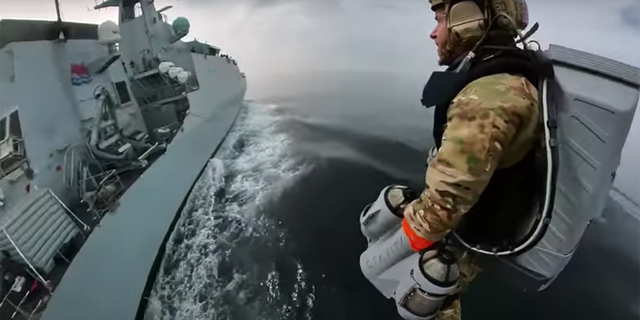 The jetpack was used recently for an underway boarding exercise where test pilots flew from (and around) a small military raft to a ship on open water.