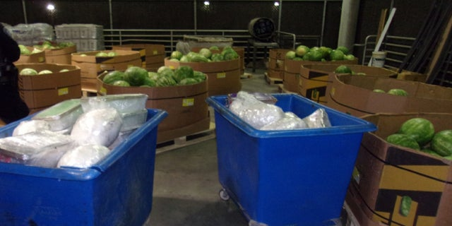 CBP officers in California discovered more than 1,100 pounds of methamphetamine hidden within a shipment of watermelons. (CBP)