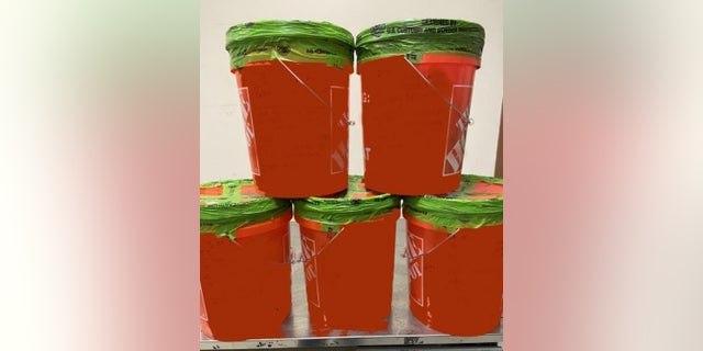 Home Depot buckets containing methamphetamine were seized by Customs and Border Protection officers at a Texas-Mexico border crossing.