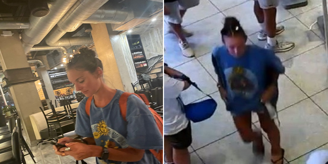 Hammontree, seen on the left on May 21. On the right, she is pictured inside a McDonald's in Times Square. She vanished outside the restaurant early Monday. (Falmouth Police Department)