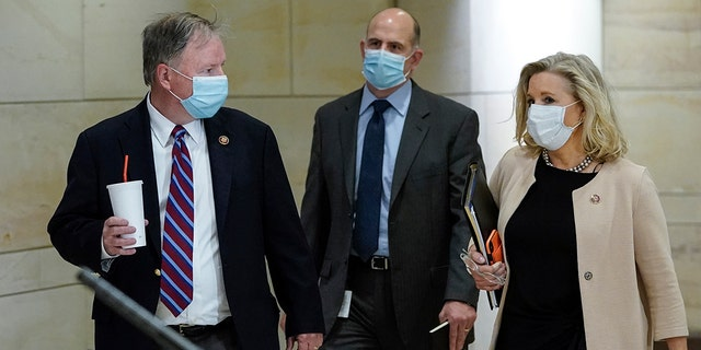 Rep. Doug Lamborn (R-KS) (L) and Rep. Liz Cheney (R-WY) (R) arrive for a classified House Armed Services Committee briefing at the U.S. Capitol, May 28, 2020. (Photo by Drew Angerer/Getty Images)