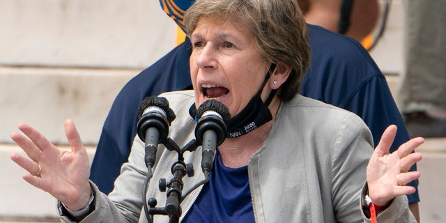 """Randi Weingarten, president of American Federation of Teachers, speaks, along with Everett Kelley, left, National President of the American Federation of Government Employees, during the """"Commitment March: Get Your Knee Off Our Necks"""" protest against racism and police brutality, on August 28, 2020, in Washington, DC. Republicans want to know how much influence Weingarten had on the Biden Admisntration's school reopening policies. (Photo by Jacquelyn Martin / POOL / AFP) (Photo by JACQUELYN MARTIN/POOL/AFP via Getty Images)"""