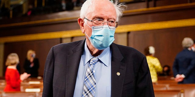 """Sen. Bernie Sanders, I-Vt., arrives before President Joe Biden addresses a joint session of Congress in the House chamber of the U.S. Capitol April 28, 2021 in Washington, DC. Sanders told Fox News that Democrats """"have got to act"""" and if that means ending the filibuster, """"that's what it takes."""" (Photo by Melina Mara-Pool/Getty Images)"""