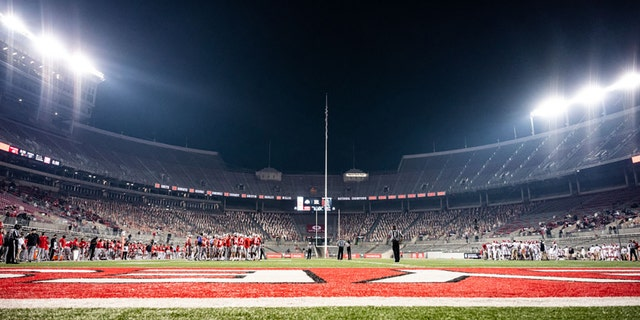 A general wide view of Ohio Stadium during a regular-season game between the Ohio State Buckeyes and Rutgers Scarlet Knights on November 7, 2020, in Columbus, Ohio. (Photo by Benjamin Solomon/Getty Images)