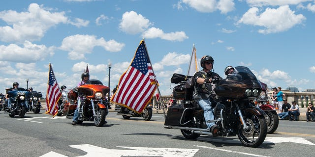 Bikers take part in the annual Rolling Thunder ride in Washington, D.C. on May 25, 2014 as the U.S. marks Memorial Day to remember the men and women who died while serving in the United States Armed Forces. (NICHOLAS KAMM/AFP via Getty Images)