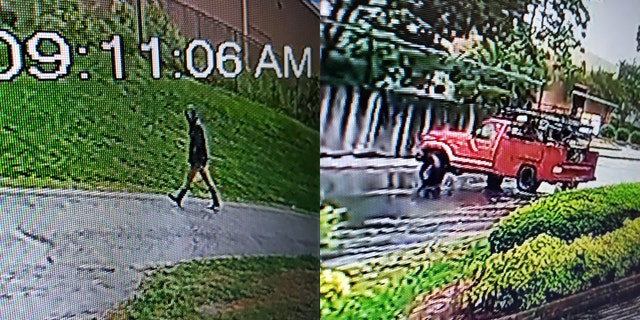 Authorities released grainy images of the suspect allegedly walking near a U-Haul with an apparent fuel can in hand.