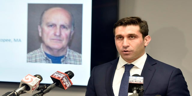Hampden District Attorney Anthony D. Gulluni, right, speaks during a news conference on Monday in Springfield, Massachusetts. (AP/The Republican)