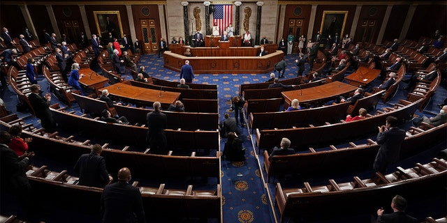 President Biden speaks to a joint session of Congress Wednesday, April 28, 2021, in the House Chamber at the U.S. Capitol in Washington, as Vice President Kamala Harris and House Speaker Nancy Pelosi of California watch. (Doug Mills/The New York Times via AP, Pool)