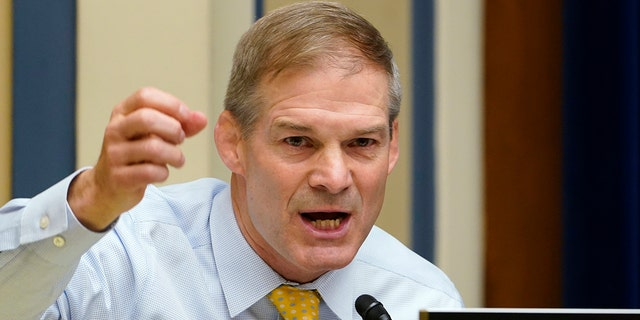 Rep. Jim Jordan, R-Ohio, speaks during a House Select Subcommittee on the Coronavirus Crisis hybrid hearing on Capitol Hill in Washington, Wednesday, May 19, 2021. (AP Photo/Susan Walsh, Pool)