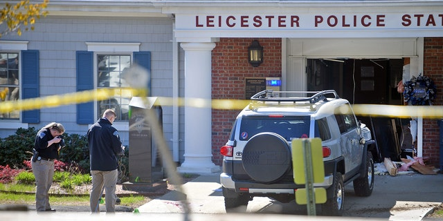 Leicester Police Chief KennethAntanavica said the vehicle was almost entirely inside the station's lobby when officers arrived.