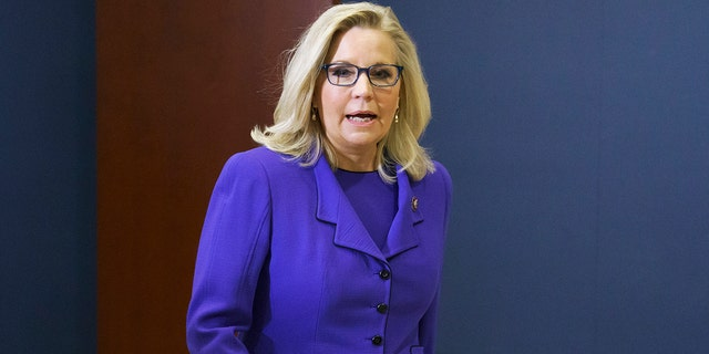 Rep. Liz Cheney, R-Wyo., arrives to speak to reporters after House Republicans voted to oust her from her leadership post as chair of the House Republican Conference, at the Capitol in Washington, Wednesday, May 12, 2021. (AP Photo/J. Scott Applewhite)