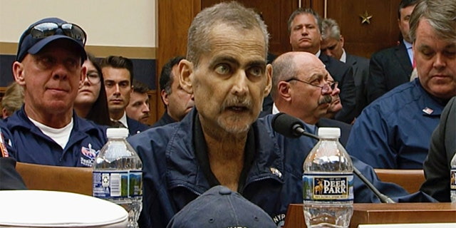 In this June 11, 2019, file image made from video, retired New York Police Detective and 9/11 responder, Luis Alvarez, speaks during a hearing by the House Judiciary Committee as it considers permanent authorization of the Victim Compensation Fund, on Capitol Hill in Washington.
