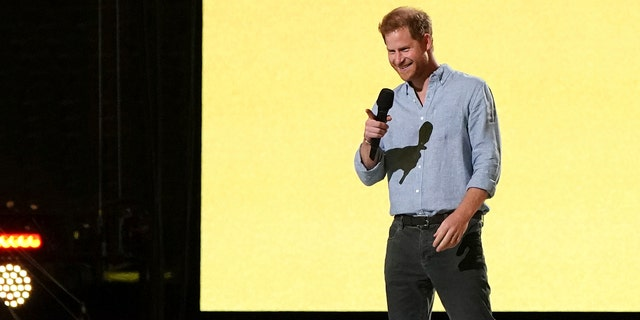 "Prince Harry, Duke of Sussex, speaks at ""Vax Live: The Concert to Reunite the World"" on Sunday, May 2, 2021, at SoFi Stadium in Inglewood, Calif."
