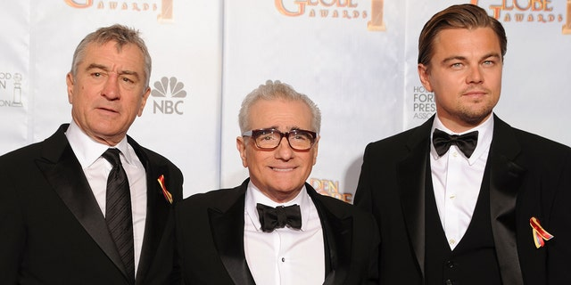 Robert De Niro (left) is currently working on a movie directed by Martin Scorsese (center) and co-starring Leonardo DiCaprio (right).
