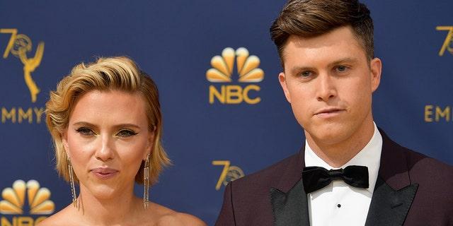 Scarlett Johansson was weakened by her husband Colin Yost during her speech for the MTV Movie and TV Awards.  (Photo: Matt Winkelmeier / Getty Images)