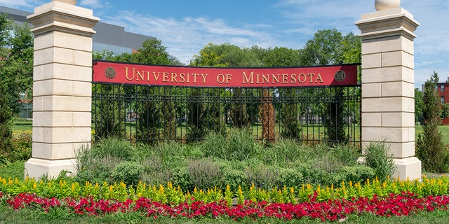 MINNEAPOLIS, MN/USA - JUNE 30, 2018: Entrance sign and garden near Stadium Village on the east bank of the University of Minnesota.
