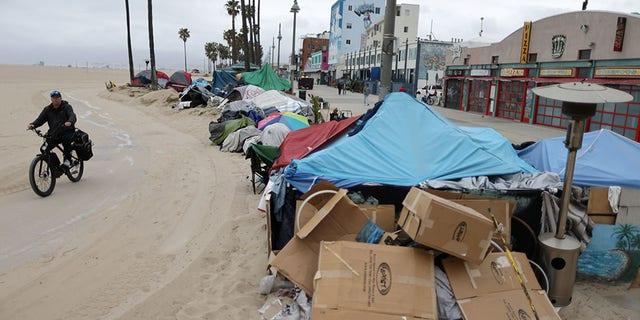 Homeless encampments line the bike path, as the coronavirus disease (COVID-19) disease pandemic continues, on Venice Beach in Los Angeles, California, U.S., April 13, 2021. REUTERS/Lucy Nicholson