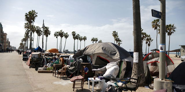 Homeless encampments line the boardwalk on Venice Beach in Los Angeles. Residents and business owners have said the encampments have led to an uptick in crime and other quality of life issues. (ロイター)